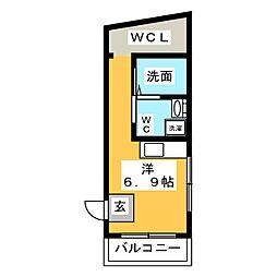 ヴェスパーマティーニ亀有 1階ワンルームの間取り