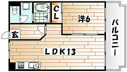 福岡県北九州市八幡西区岸の浦1丁目の賃貸マンションの間取り