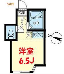 横浜市営地下鉄ブルーライン 吉野町駅 徒歩4分の賃貸アパート 1階ワンルームの間取り