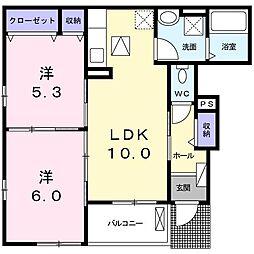 上野町アパート B棟[0101号室]の間取り