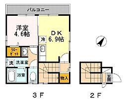 東京メトロ千代田線 根津駅 徒歩1分の賃貸アパート 3階1DKの間取り
