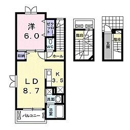 大阪府豊中市上津島2丁目の賃貸アパートの間取り
