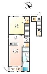 JR山陽本線 西広島駅 徒歩16分の賃貸アパート 2階1LDKの間取り