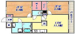サニープレイス西芦屋2号館 3階2LDKの間取り