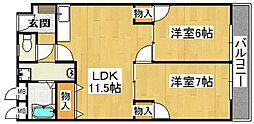 コーポラス三栄[5階]の間取り