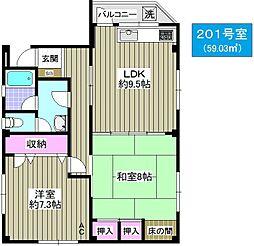 HOUSE SHINGAI[201号室]の間取り