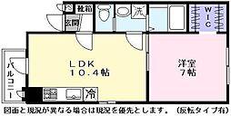 East Garden 2階1LDKの間取り