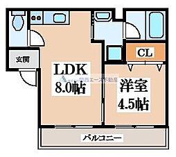 ディアコート岩田II 1階1LDKの間取り