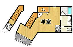 仮)岡本2丁目新築ハイツ 2階ワンルームの間取り