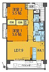 沖縄都市モノレール 小禄駅 徒歩17分の賃貸アパート 2階2LDKの間取り