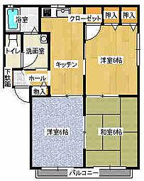 ブランドールSUNAGA[B201号室]の間取り