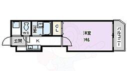 ハートビル 3階1Kの間取り