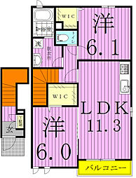 千葉県鎌ケ谷市東初富3丁目の賃貸アパートの間取り