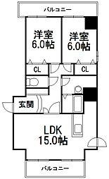 サンコート南8条[6階]の間取り