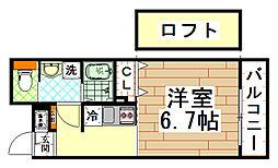 近鉄奈良線 河内小阪駅 徒歩4分の賃貸マンション 2階1Kの間取り