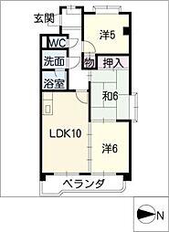 愛知県名古屋市西区花原町の賃貸マンションの間取り