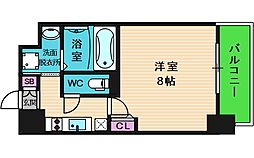 レジュールアッシュ天王寺舟橋 5階1Kの間取り