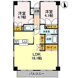 神奈川県厚木市愛甲東3丁目の賃貸マンションの間取り
