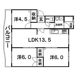 静岡県浜松市中区佐鳴台1丁目の賃貸マンションの間取り