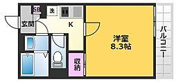 クレイノ花水木三番館 2階1Kの間取り