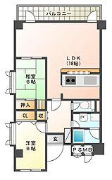 上野東リバーサイド[2階]の間取り