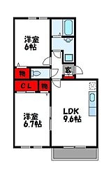 メゾンドクレール門松B[1階]の間取り