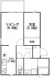 JR山陽本線 横川駅 徒歩4分の賃貸アパート 2階1LDKの間取り