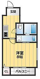 フジパレス下新庄駅東I番館 1階1Kの間取り