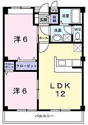 ハイツ晴海3号館(エアコン付き)[2階]の間取り