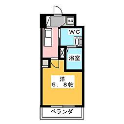 ハーモニーレジデンス新横浜 9階1Kの間取り