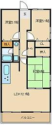 プランテーム吉田[6階]の間取り