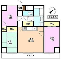 上田第一コーポ[7階]の間取り