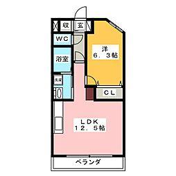 ハートヒルズ井田[5階]の間取り