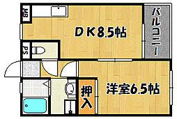 テルース21 II 1階1DKの間取り