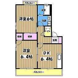 ディアコートA棟[2階]の間取り