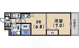 阪急今津線 門戸厄神駅 徒歩8分の賃貸マンション 3階1DKの間取り