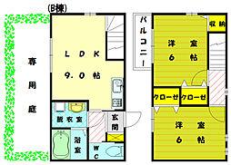 [テラスハウス] 福岡県福津市宮司6丁目 の賃貸【/】の間取り