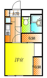 近鉄南大阪線 古市駅 徒歩24分の賃貸アパート 2階1Kの間取り
