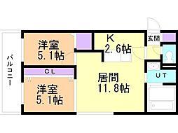 癒禅(ユウゼン)32 5階2LDKの間取り