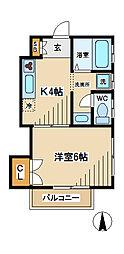 東京都府中市白糸台1丁目の賃貸アパートの間取り