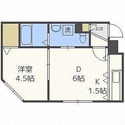 e's東札幌[1階]の間取り