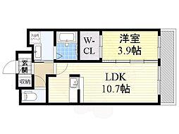 阪急京都本線 南茨木駅 徒歩20分の賃貸マンション 3階1LDKの間取り