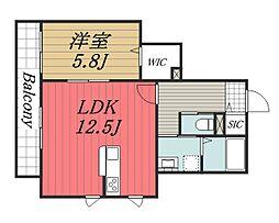 La miya casa[203号室]の間取り