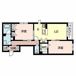 泉北高速鉄道 和泉中央駅 徒歩12分の賃貸アパート 2階2LDKの間取り
