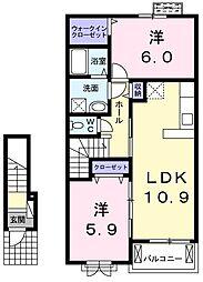 JR青梅線 小作駅 徒歩13分の賃貸アパート 2階2LDKの間取り