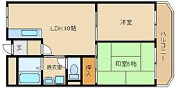 大阪府羽曳野市南恵我之荘4丁目の賃貸マンションの間取り