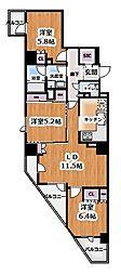 プライムアーバン新宿夏目坂タワーレジデンス 7階3LDKの間取り
