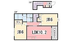 兵庫県姫路市仁豊野4丁目の賃貸アパートの間取り
