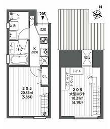 東急田園都市線 駒沢大学駅 徒歩10分の賃貸アパート 2階1Kの間取り