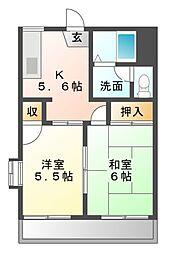 メゾンパークサイドB[1階]の間取り